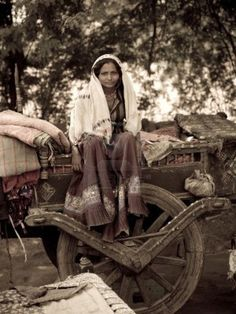 Caravan Gypsy Vardo Wagon:  #Gypsy woman atop Gypsy open cart.