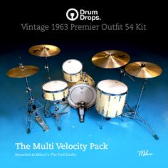 The Premier Outfits 54 Kit - Multi-Velocity Sample Pack  http://drumdrops.com/drum-samples/1963-premier-outfit-54-drum-kit?page=the-packs=the-multi-velocity-pack