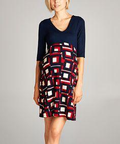 Look what I found on #zulily! Hello Miz Navy & Red Geometric Maternity V-Neck Dress #zulilyfinds