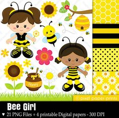 Flower Digital Paper Bee Girl - Clip art and digital paper set bee girl spring summer sunflower flower bumblebee bumble bee beehive clip art clipart pixel paper prints bee clipart pixelpaperprints USD Clip Art, Kit Scrapbook, Scrapbooking, Girls Clips, Photoshop Elements, Digital Stamps, Print And Cut, Art Images, Party Supplies
