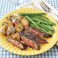 Marinate budget-friendly flank steak in balsamic vinegar, rosemary, and brown sugar and grill for an easy 4-ingredient steak supper. Serve with roasted new potatoes and steamed green beans.