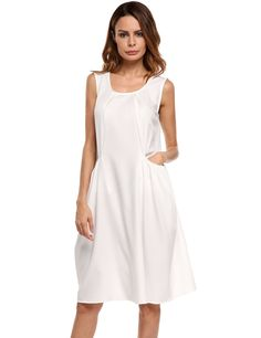Solid Sleeveless A-Line Dress with Pockets