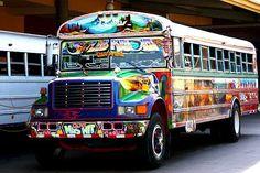 "Panama's Old Buses, known as ""Diablo Rojos"""