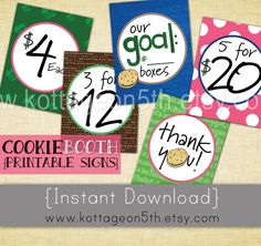 Scout Cookie Booth Price n Goal Signs - 5 Printable Pages - 8 x 11 - Easy to… Girl Scout Swap, Girl Scout Leader, Girl Scout Troop, Scout Mom, Girl Scout Cookie Sales, Girl Scout Cookies, Girl Scout Activities, Girl Scout Juniors, Cookies Et Biscuits