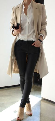 white shirt + black skinny pants + nude shoes + nude trench or cardigan.