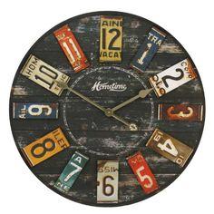 Grande horloge murale en bois rustique avec USA Plaques d'immatriculation - 60cm Diamètre WBL http://www.amazon.fr/dp/B007FA4LC6/ref=cm_sw_r_pi_dp_vcBdvb0WHTARD