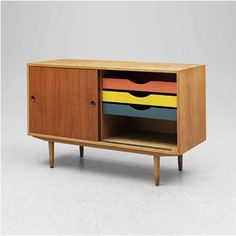 Børge Mogensen; Teak and Lacquered Wood Sideboard for Karl Andersson & Söner, 1950s.