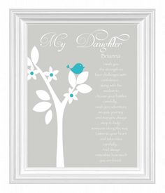 Daughter Gift Print- Custom Gift for Daughter -Mother Daughter Gift - Daughter Verse Print -Other colors & personalization available