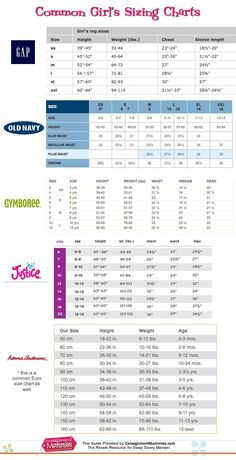 S Clothing Size Charts Common Kids And Conversions Kidsconsignment Backtoschool