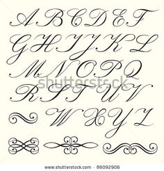Worksheets Cursive Handwriting Of English Alphabet fancy script alphabet uppercase and lowercase cool old handwriting styles english hand drawn with calligraphic elements stock vector