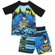 Batman Boys Swim Trunks and Rash Guard Set #Batman #BoysSwimwear #BoysRashguard #YankeeToyBox