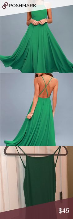 Lulu's mythical kind of love green dress Like new! Only worn once (to a formal dinner)! Excellent condition. The color in the pictures I took aren't the best, but the dress looks exactly like the one in the stock photo. Make an offer :) Lulu's Dresses Maxi