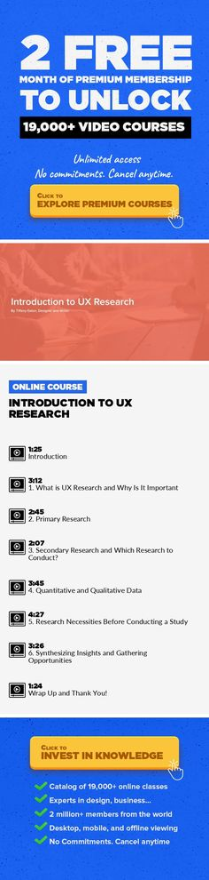 Introduction to UX Research Design Research, Interaction Design, User Experience, UX Design, Project Management, Creative, UI/UX Design, Design Techniques #onlinecourses #onlineclassescollege #MainCourses   My name is Tiffany Eaton and I am a designer and freelance writer. I am extremely passionate about the role UX research plays in the design process. Research is what allows us to understand peo...