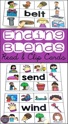 These Ending Blend Read & Clip Card activities are perfect for my beginning readers! I use them for word work centers, early finishers, and my morning tubs! Students simply read the word on each card and use a clothespin to clip the picture that matches the word. First graders love them!