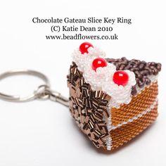 Etsy - Beading Kit to make a chocolate gateau slice key ring