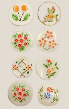 Vintage Painted Glass Buttons