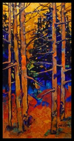 ASPEN GLADE 12010, mixed media contemporary aspen forest Carol Nelson Fine Art, painting by artist Carol Nelson