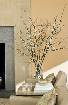The dramatic height of quince paired with Ralph Lauren Home's low-set, clean-lined, plush club chairs. Decorating Your Home, Interior Decorating, Interior Design, Ralph Lauren Paint, Traditional Fireplace, Vase Arrangements, Fireplace Design, Home Living Room, Home Decor Inspiration