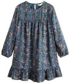Mango Girls Long Sleeve Ruffle Floral Dress in Blue Stylish Dresses For Girls, Stylish Dress Designs, Frocks For Girls, Designs For Dresses, Little Girl Dresses, Girls Dresses, Floral Dress Outfits, Dress Anak, Girls Frock Design