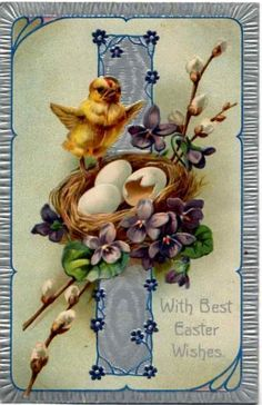 easter card with nest and violets