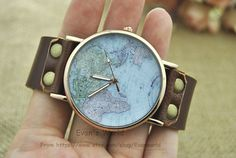 Retro style watch World Map Brown Leather Bracelet by Evanworld, $10.98 Fashion charm handmade personalized watches, best gift.