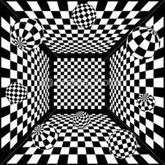 3D fundo abstrato xadrez preto e branco com bolas