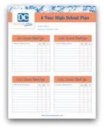 FREE Four-Year-Plan template for home schooling high school. For more great resources and high school ideas follow us at www.pinterest.com/dualcredit!