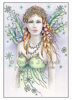 """Fairy Tangles: """"Snowbird Fairy"""" - Original Fairy-Tangle™ Color Pencil & Ink Drawing by Norma J Burnell"""