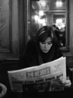 Françoise Hardy | reading | newspaper | black & white | iconic | print | www.republicofyou.com.au