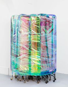 Ian Law, There was a body, I was there, was a body, medical privacy screens with soft toy fur fabric, and curtain netting, gift wrapped, 171 x 108 cm, 2015 at Rodeo