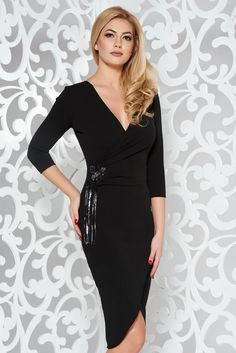 """StarShinerS black occasional pencil dress from elastic fabric lace and sequins details, lace and sequins details, tented cut, deep cleavage, """"V"""" cleavage, without clothing, 3/4 sleeves, elastic fabric"""