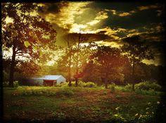 Barn at sunset by OKinOKC, via Flickr