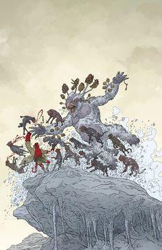 "omercifulheaves: ""Hellboy Winter Special 2017 Art by Geoff Darrow "" Comic Book Artists, Comic Artist, Comic Books Art, Mike Mignola, Manado, Geof Darrow, Jordi Bernet, Comic Styles, Manga Illustration"