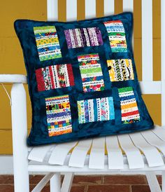 """""""Woven Selvages Pillow"""" from Marsha Hoogstraten Anderson (from The Quilter August/September 2012 issue)"""