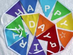 Birthday Bunting Pennant Flags in RAINBOW COLOURS | Felt $25