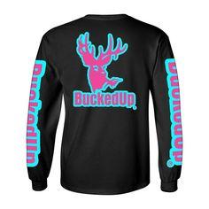 LONG SLEEVE BLACK WITH AQUA BLUE PINK LOGO Available at BuckedUpApparel.com  #buybuckedup #getbuckedup stay #buckedup #deer #hunting #pink