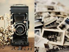Cámara fotográfica antigua y fotos