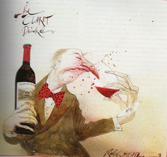 A good wine has legs, but it takes a good nose to know one! - Ralph Steadman illustration