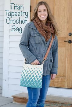 Titan Tapestry Crochet Bag. What a gorgeous tapestry crochet body bag! #tapestrycrochetbag #crochetbag