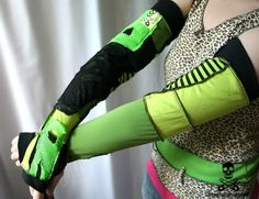 SWAMP THING patchwork armwarmers fingerless gloves