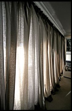 Soft Linen Curtains - Looks like two toned burlap curtains, which I dig!