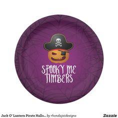 Jack O' Lantern Pirate Halloween Paper Plate.