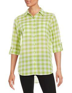 Michael Michael Kors Gingham Button-Front Shirt Women's Green Large