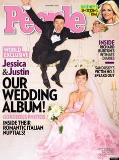 Jessica Biel wearing pastel pink Giambattista Valli gown for her wedding to Justin Timberlake.