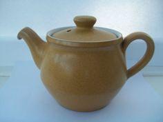 Denby Ode 3/4 Pint Teapot for One 10 cm 1960's 70's Sand Beige Mustard White £12.50