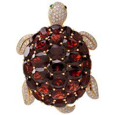 Garnet Emerald Diamond Gold Turtle Lapel Brooch
