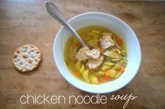 chicken noodle soup - carrots, celery, onion, garlic, tarragon, chicken, egg noodles, yum!