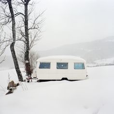 Vintage camping in winter