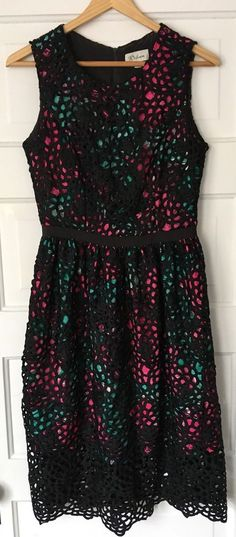 """Wolven for Anthropologie Terrace Lace Sheath Dress in pink, green and black. Size 2. Length: 41"""".   eBay!"""