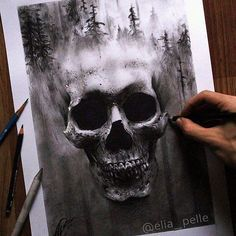 Surreal skull drawing #graphite and #charcoal by @elia_pelle by justartspiration